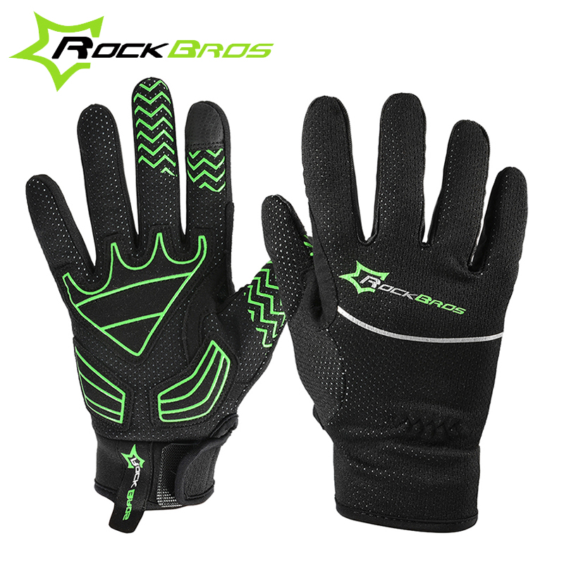 ROCKBROS MTB Cycling Full Finger Bike Bicycle font b Gloves b font Touch Screen Winter Warm