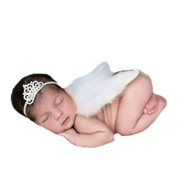Newborn Photography Props Accessories Baby Girls Costume Feather Angel Wings Baby Photo Props Newborn Fotografia White