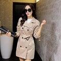 2015 nueva primavera otoño de moda/Casual Gabardina larga ropa de Abrigo ropa Delgada de las mujeres de señora plus size buena calidad
