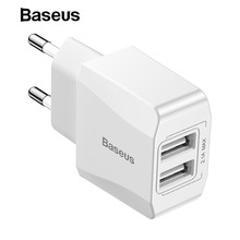 Baseus 5V 2.1A USB Charger Dual-U Fast USB Charger Travel Wall Charger EU Adapter for iPho