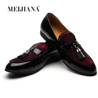 MEIJIANA Black Patent Leather Men Wedding Dress Shoes Luxury Brand Tassels Shoes Slip On Loafers Men's Banquet And Prom Shoes