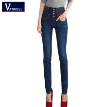 Long Jeans Woman Pencil Casual Blue Denim Stretch Skinny 2016 Fashion Four Buttons High Waist Jeans Pants Women Plus Size