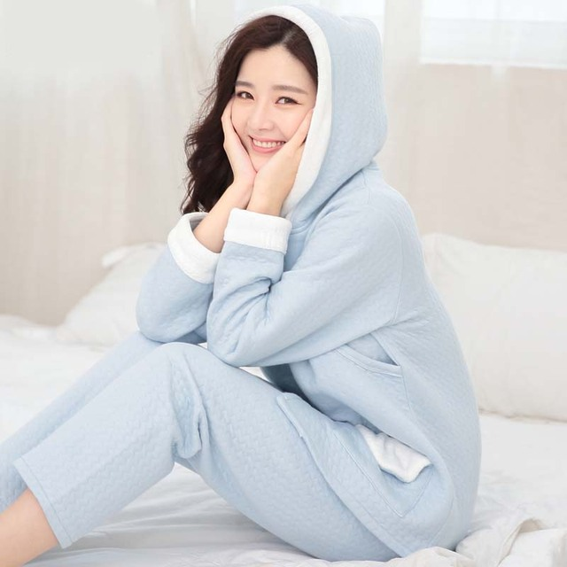 Pregnant women clothing high quality cotton warm breastfeeding suit autumn and winter long-sleeved hood thick pregnant pajamas