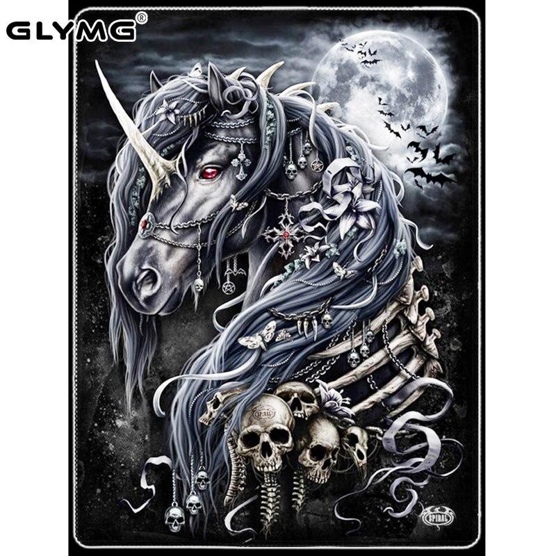 GLymg Diy Diamond Embroidery Black Horse Skull Diamond Painting Cross Stitch Full Square Rhinestones Embroidery Home Decor