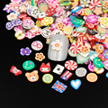 2000pcs/pack Nail Art 3D Fruit Feather Heart Flower Candy Mixed Designs Tiny Fimo Slices Polymer Clay Nail Sticker Decoration