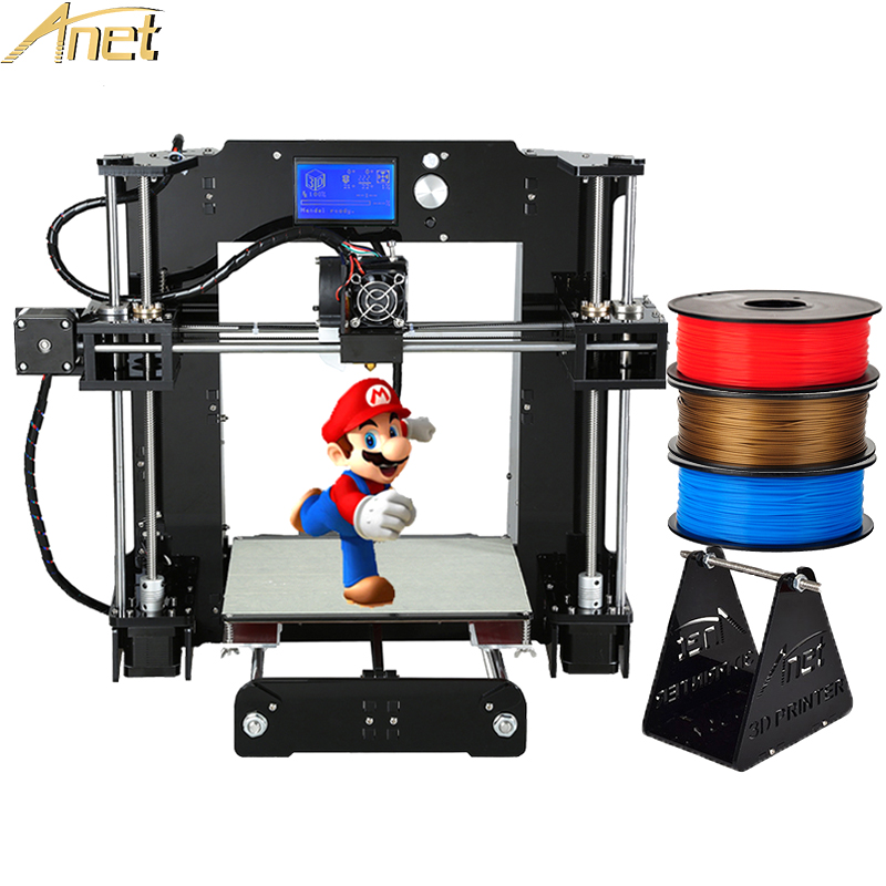 High Quality Anet A6 A8/Auto leveling A8 DIY Self-Assemble 3d Printer Machine i3 3D Printer Kit with Free 1rolls 1KG Filament flsun 3d printer big pulley kossel 3d printer with one roll filament sd card fast shipping