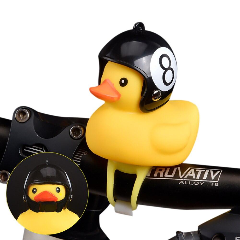 1pcs Cartoon Yellow Silica Gel Little Duck Shape Bicycle Bells Shining Mountain Bike Handlebar Duck Head Light Accessories New
