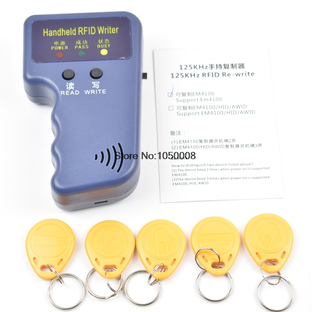 Handheld 125KHz EM4100 RFID Copier Writer Duplicator Programmer Reader + 5pcs EM4305 Rewritable ID Keyfobs Tags Card T5577 5200 handheld 125khz rfid id card duplicator programmer reader writer copier duplicator 6 pcs cards 6 pcstags kit
