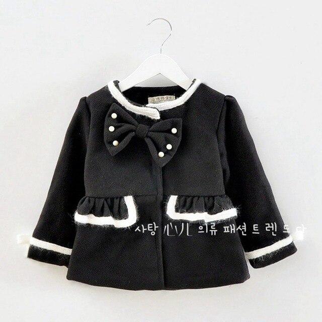 Зима детей девочки младенческой о шеи с длинными рукавами с бантом бисером шерстяной принцесса пальто куртки кардиган верхней одежды пальто MT503