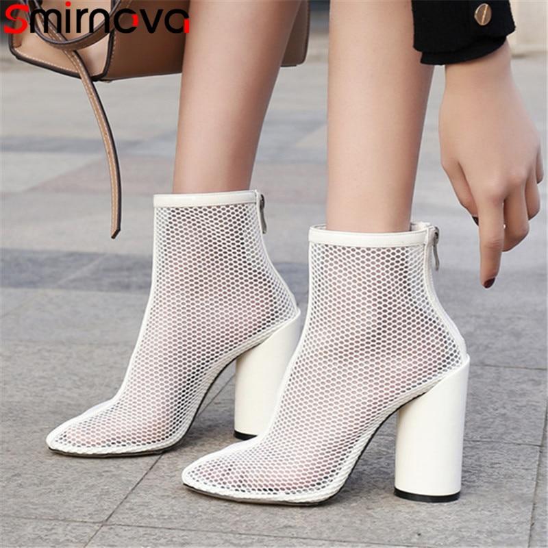 Smirnova 2019 summer shoes women round toe ankle boots women thick high heels shoes women mesh