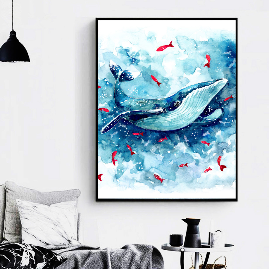 Watercolor-Sea-Whale-Fish-Wall-Art-Canvas-Painting-Nordic-Posters-And-Prints-Animals-Wall-Pictures-Baby (2)