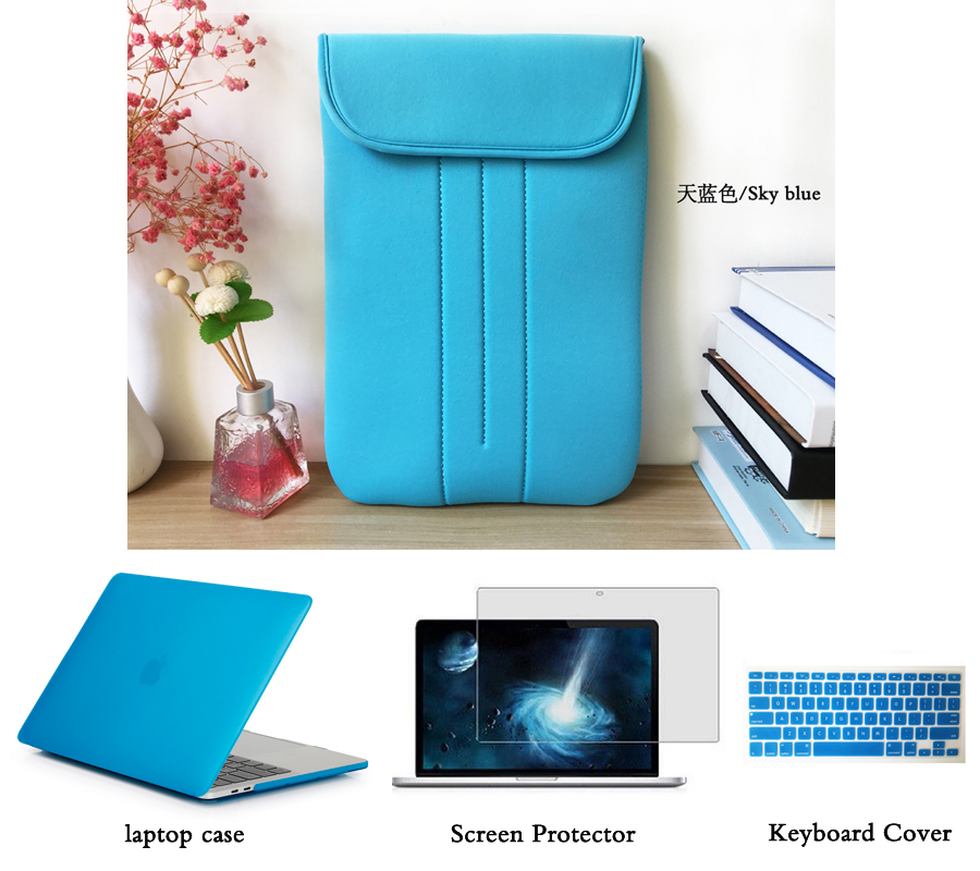Portable Soft Sleeve Handlebag Laptop Bags Case Rubberized Hard Case Shell Keyboard Cover Screen Film for MacBook 11 12 13 15 in Laptop Bags Cases from Computer Office