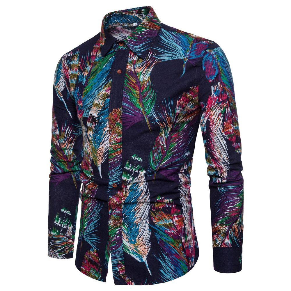 2018 Cotton Spring Autumn New Men's Fashion Flower Printed Long Sleeve Shirts Male Slim Vintage Casual Shirt M- XXXL 4XL 5XL 5