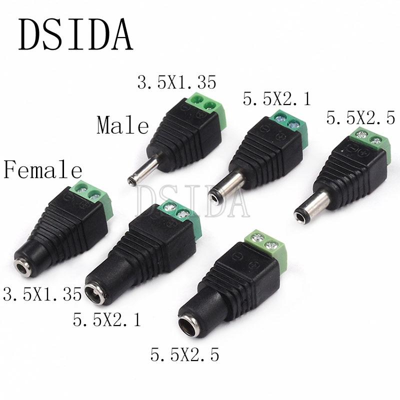 Tomada de alimentação dc 5 peças, macho e fêmea 5.5x2.1mm 5.5*2.5mm 3.5*1.35mm adaptador de tomada de 12v 24v, conector cctv 5.5x2.1 2.5 1.35