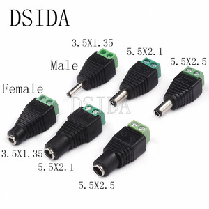 5PCS male and female DC Power plug 5.5 x 2.1MM 5.5*2.5MM 3.5*1.35MM 12V 24V Jack Adapter Connector Plug CCTV 5.5x2.1 2.5 1.35(China)