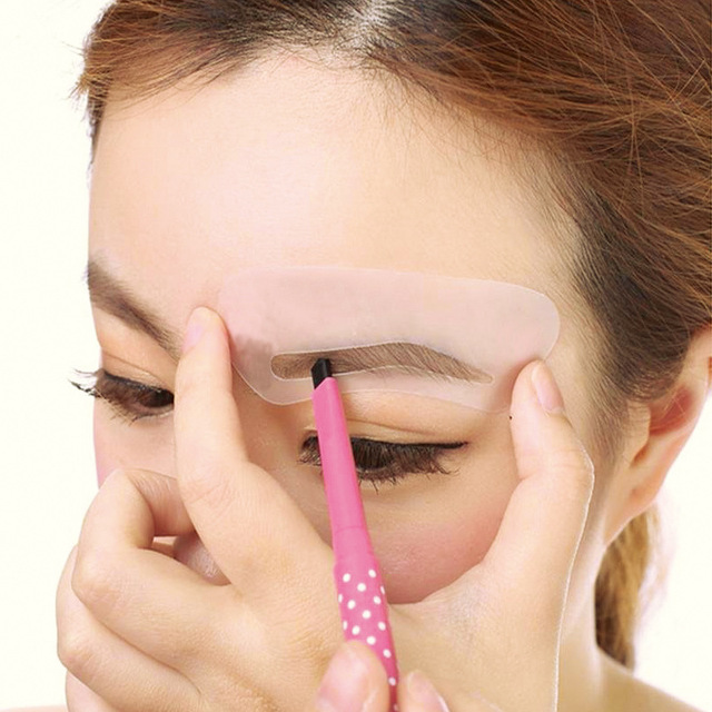 24 Pcs Reusable Eyebrow Stencil Set Eye Brow DIY Drawing Guide Styling Shaping PVC Template Card Easy Makeup Eyebrow Stencil 5
