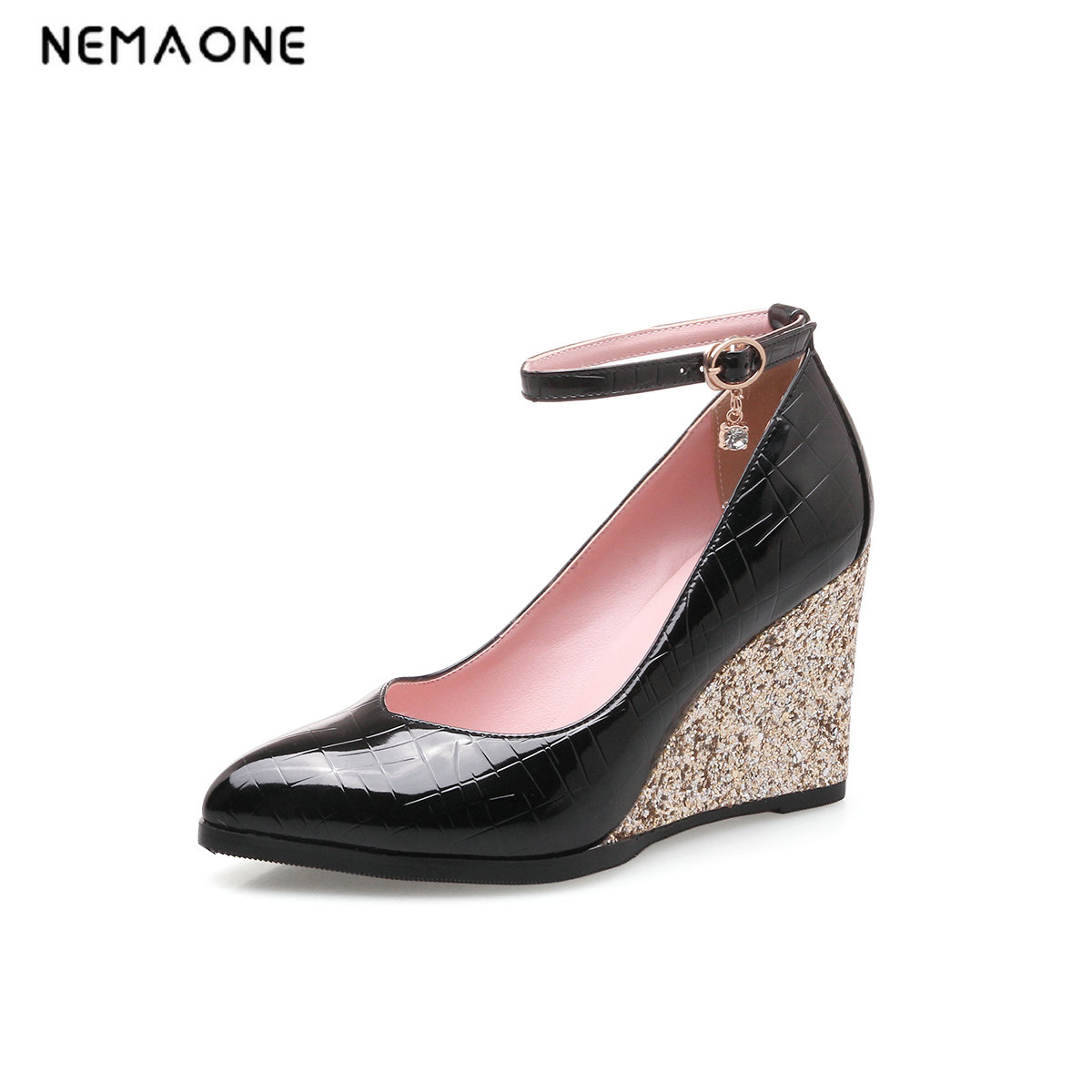 NEMAONE Women Pumps PU Leather Woman Shoes Ankle Strap Platform Wedge High Heel Pointed Toe Ladies Wedding Pumps Size 34-43 nayiduyun women genuine leather wedge high heel pumps platform creepers round toe slip on casual shoes boots wedge sneakers
