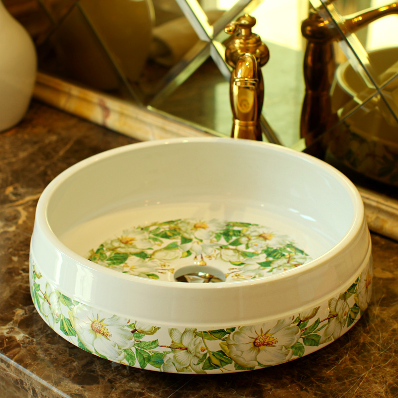 Green pattern flower porcelain bathroom vanity bathroom sink bowl countertop Round bathroom sink wash basin