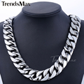 Custom ANY Length 24mm Width Heavy Thick Silver Tone Flat Round Curb Curban Link Mens Chain 316L Stainless Steel Necklace HN33