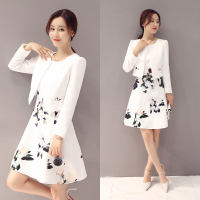 New 2017 fashion florall print office ladies dress and white jacket suits women o neck slim fit dress suits for ladies LXF15