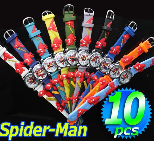 Wholesale 10pcs Spider Man 3D Cartoon Children Kids Boys Students Quartz Wrist Watches, Free & Drop Shipping