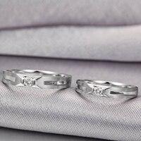 Алмаз пару набор кольцо для Для мужчин и Для женщин 0.07 + 0.06ct/пара 18 К из белого золота ручной работы Ювелирные изделия с алмазами Свадебные гр