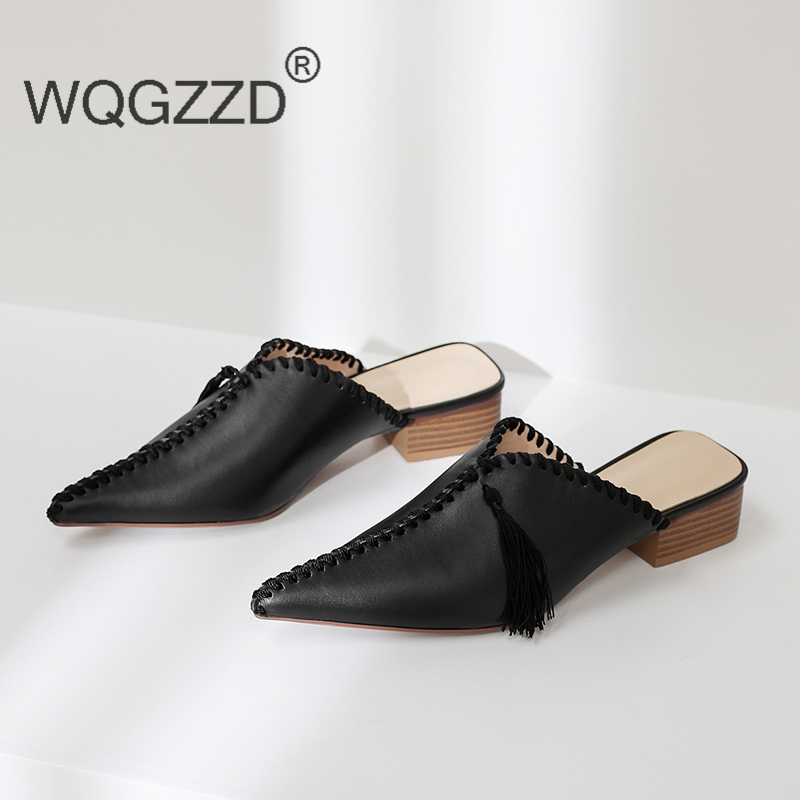 2019 New spring summer shoes women slippers genuine leather fringe outside slippers women s shoes chaussures