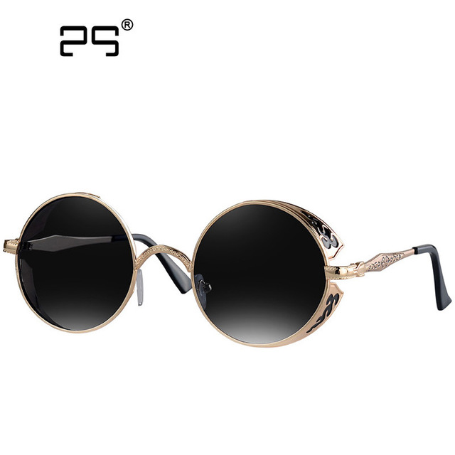 142c9141626 COLECAO Polarized Round Steampunk Sunglasses Women 2018 Brand New Fashion  Vintage Mirror Circle Glasses Metal Designer Eyewear