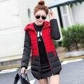 2016New Горячие продажи популярных женщин с капюшоном лоскутное вниз хлопка-ватник тонкий средней длины ватные верхняя одежда женский Пальто