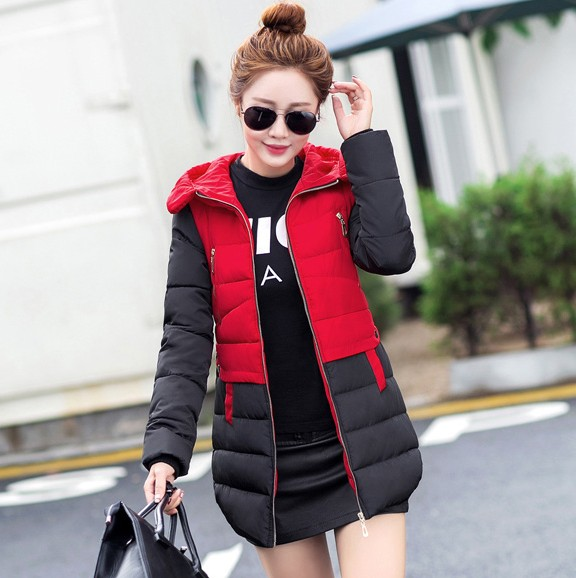 2016New Hot selling popular women with a hood patchwork down cotton-padded jacket slim medium-long wadded outerwear female Coat 2015 new mori girl medium long thickening with a hood color block decoration cotton padded jacket wadded jacket