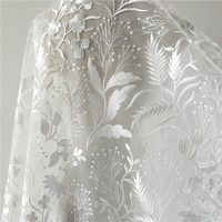 1pc 130cm*1yard embroidery flower african lace fabric for Wedding dresses DIY white mesh embroidery french tulle lace fabrics