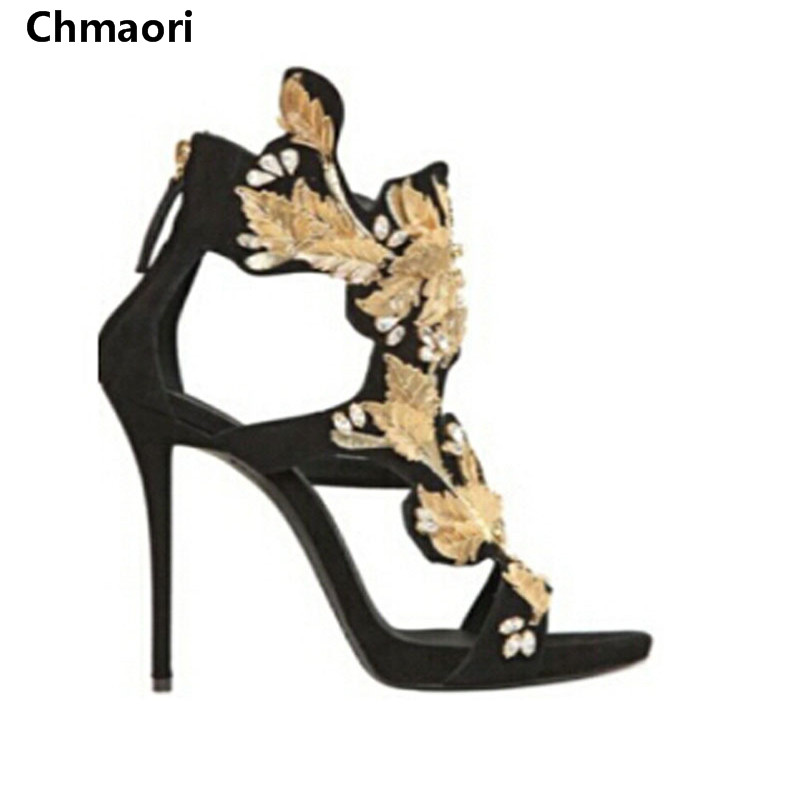 summer  fashion sexy open toe ankle strap gladiator sandals metallic gold leaves high heels sandals