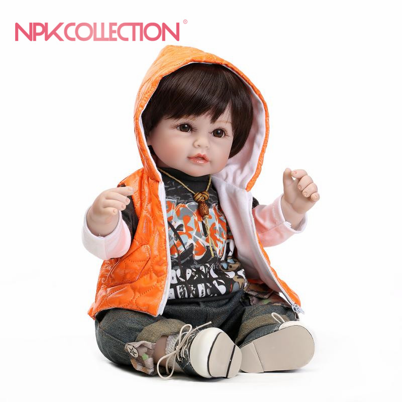 reborn toddler boy 55cm Silicone Vinyl Reborn Baby Doll Toys Lifelike Soft Cloth Newborn babies Doll