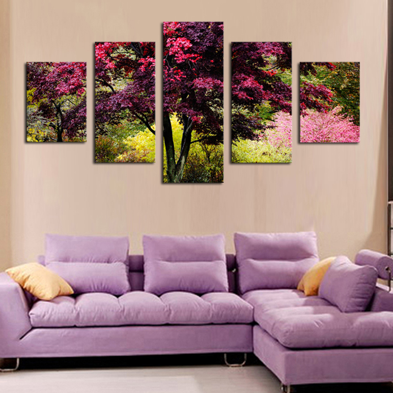 Artwork For Living Room Walls Pictures Curtains Top Rated 5 Panels Hd Beautiful Colorful Tree Canvas Print Painting Wall Art Picture Unframed
