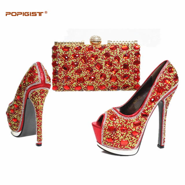 d02bec370c Red Color Fashion Italian Shoes With Matching Bags Set For Wedding And  Party African Shoes And Bag Sets with Full Rhinesotne-in Women's Pumps from  ...
