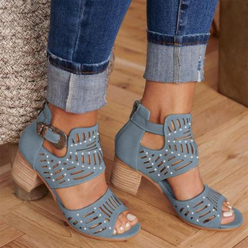 Shoes Woman Sandals Wedges Square Heel High-Heel Fashion Mujer Hollow-Out L19 Solid-Color