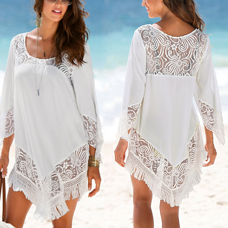 все цены на Women's summer beach cover up lace crochet hollow out irregular half sleeves beach blouse tunics cover-ups for bikini swimsuit