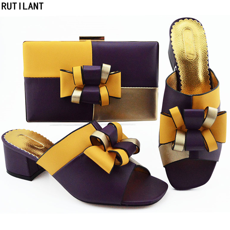 eefbc12c906407 Luxe Ensemble Femmes n Talons Nigérian Blue Italian Sac De d Pour Soirée  Sacs Noir Purple Hauts royal or Chaussures ...