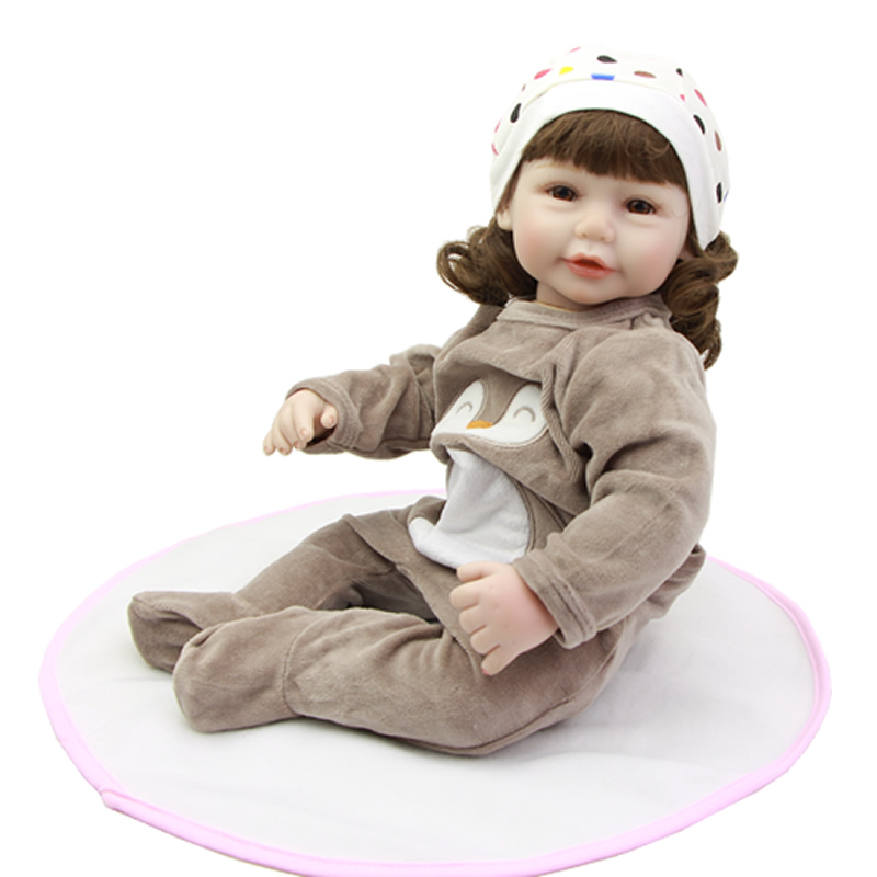 Collectible Doll Reborn Baby 20 Inch Newborn Silicone Vinyl Lifelike Princess Girl Babies With Penguin Romper Kids Playmate