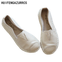 HUIFENGAZURRCS-handmade stitched for shallow bottom bottomed cattle Genuine Leather the retro art mori girl casual Flats shoes