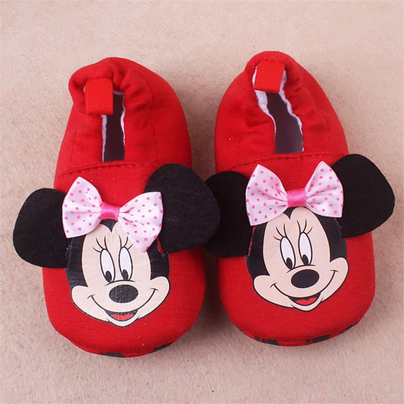 2019 Disney Cotton Spring  Autumn New Baby Shoes Cartoon Mickey Children's Shoes Anti-slip 0-1 Years Old Minnie Toddler Shoes