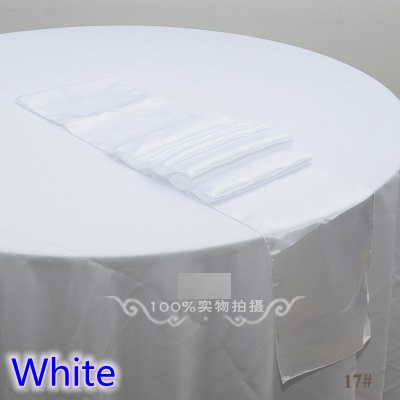 White Colour Table Runner Satin Shiny Colour Table Decoration Wedding Hotel Party Show Table Runner Cheap