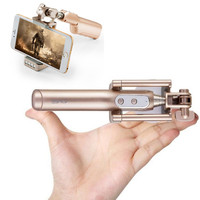 3 in 1 uitschuifbare kabel selfie stick + 3200 mah power bank + opvouwbare houder voor draagbare telefoon