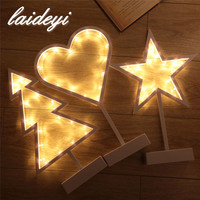 LAIDEYI LED Night Light Stars Love Heart Christmas Tree Table Lamp Girl Room Decoration Night Light