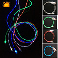 JW 1M 3FT LED Flowing Luminous Visible Flat Micro USB Cable Date Line Sync Charging Adapter Cables For Iphone 5 5s 6 6s 7 7 plus