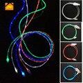 Jw 1 m los 3ft led luminoso que fluye visible plana micro usb cable de línea de la fecha cables sync adaptador de carga para el iphone 5 5s 6 6 s 7 7 plus