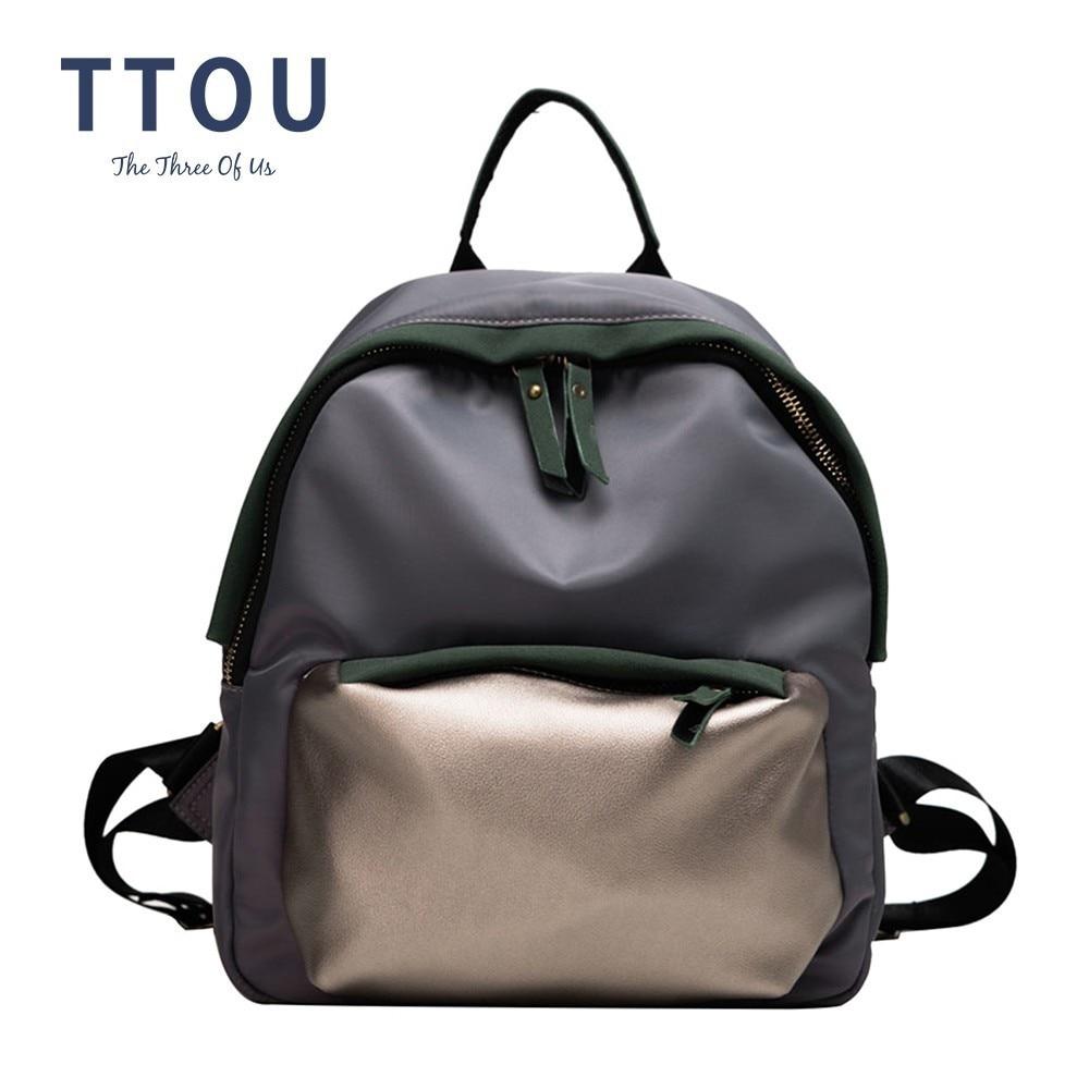 TTOU Fashion Scrub Leather Women Backpack Female Backpacks Small Zipper Bags Student Backpack Solid Rucksack For Girls Travel