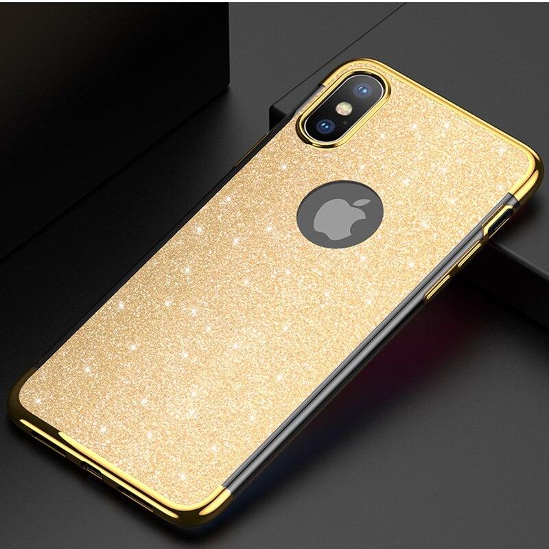 Para iphone x moda gliter exquisito caso para iphone XS Max 5 5S se 6 6 s más teléfono caso funda trasera para iphone XR 7 8 plus