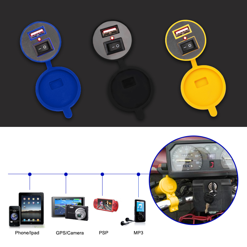 Motorbike Motorcycle USB Charger Power 12v Waterproof Motorcycle Motor USB Charger 12v Cigarette Lighter Socket Switch For Phone