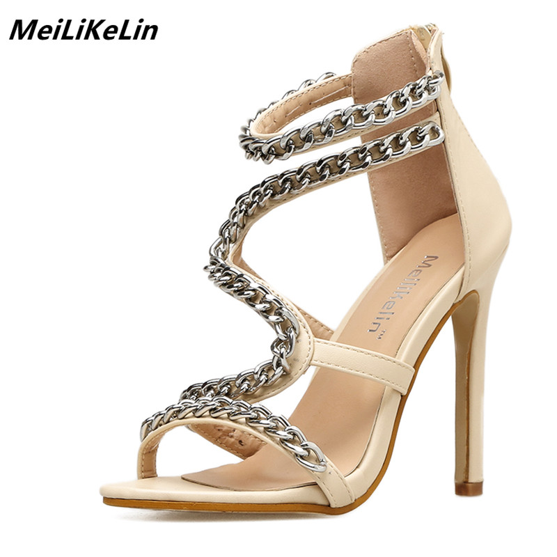 MeiLiKeLin Metal Chain Gladiator Sandals Women High Heels Roman Shoes Thin Heel Street Style Women Sandals Female Casual Shoes 9 meilikelin street style women slippers metal chain high heels slides shoes summer women sandals high heel flip flop mules shoes
